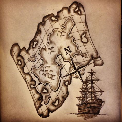 true line tattoo map ship compass sketch drawing by ranz i
