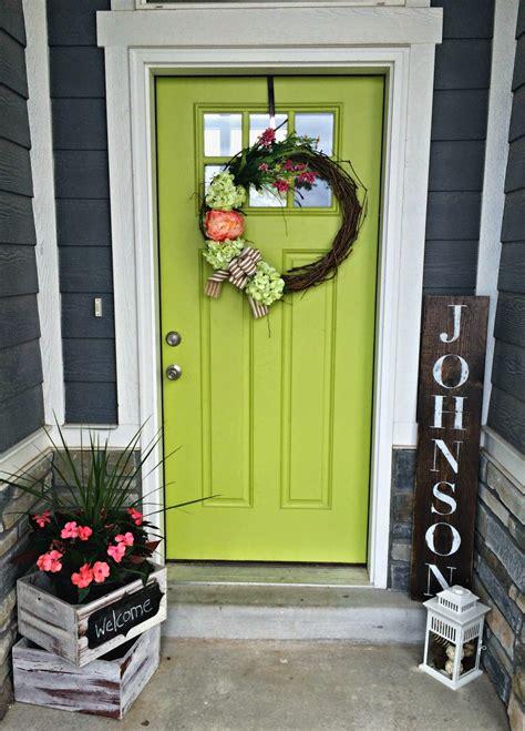 blue skies   green front door