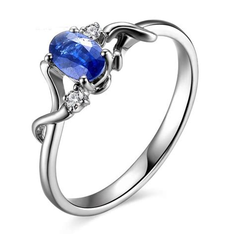 sapphire and engagement ring on 10k white gold