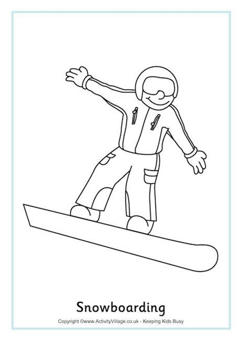 snowboarding colouring page 2 winter olympics printables