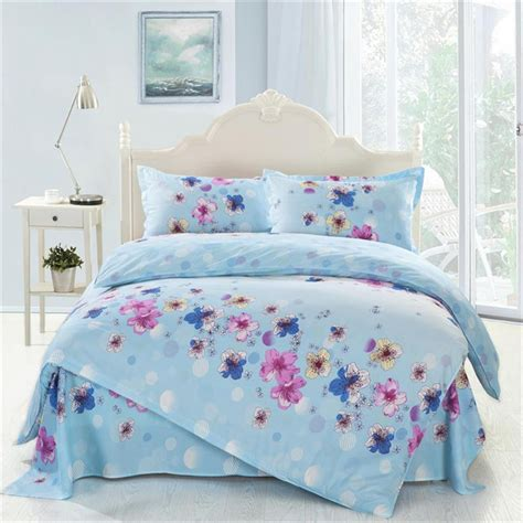 full size girls bedding 4pcs twin full size blue white green yellow floral bedding