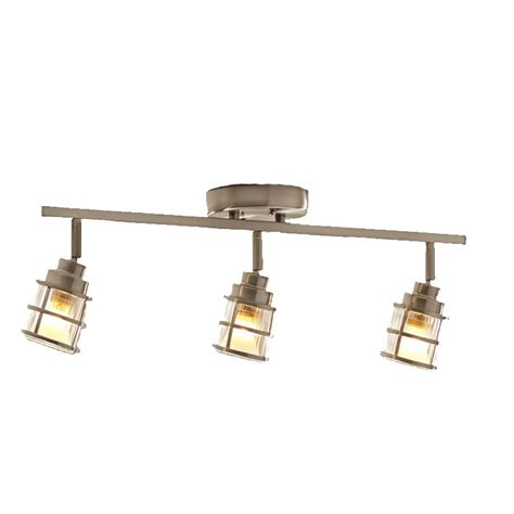Fixed Track Lighting Fixtures Shop Allen Roth Kenross 3 Light 24 In Brushed Nickel Dimmable Fixed Track Light Kit At Lowes