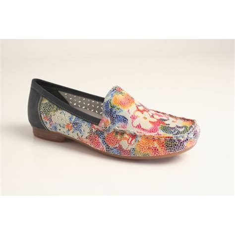 multi coloured flat shoes rieker rieker multi coloured slip on shoe with an