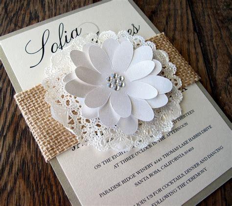 Wedding Invitation Burlap Lace Doily Sleeve Shabby Chic