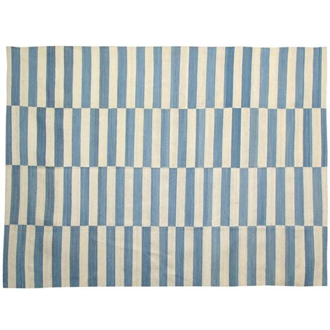 Blue And Striped Rug by Blue Striped Rug At 1stdibs