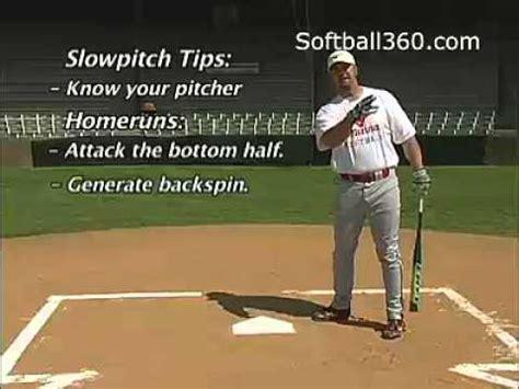 slow pitch softball homerun swing softball hitting 5 homerun vs base hitting youtube