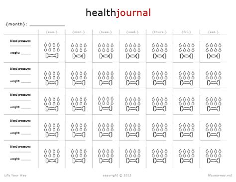 free printable health journal health journal calendar life your way