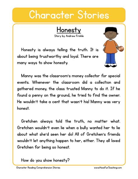 Honesty Worksheets by Reading Comprehension Worksheet Honesty