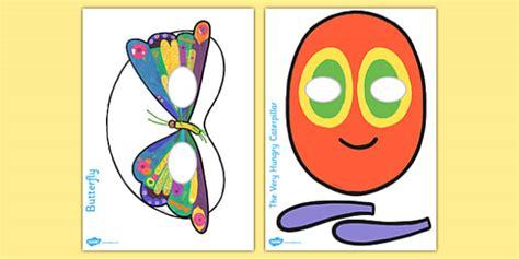 caterpillar mask template story play masks to support teaching on the hungry