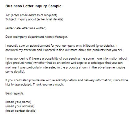 business letter inquiry sample letter templates