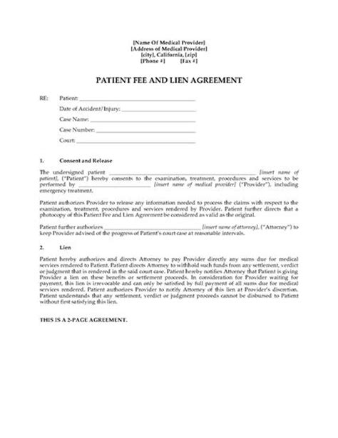 lien agreement template california patient fee and lien agreement forms