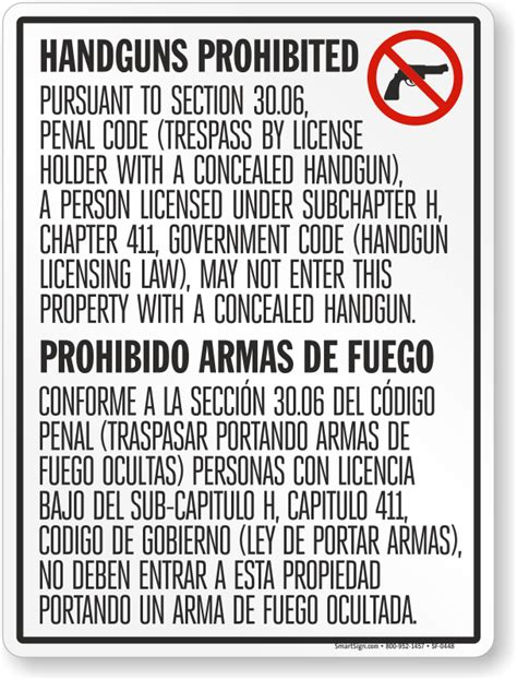 section 30 06 penal code bilingual no concealed carry floor sign for texas 167 30 06