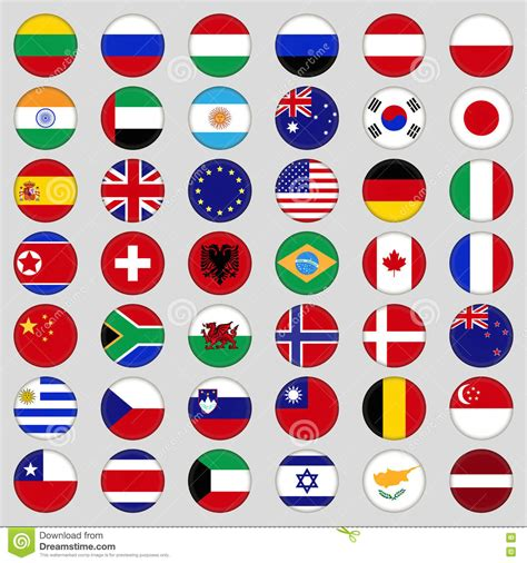 Top Flag set of flags top country flags in the form of a