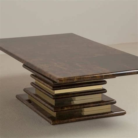 Stacked Coffee Table Lacquered Goatskin Coffee Table With Brass Stacked Base 1970s At 1stdibs