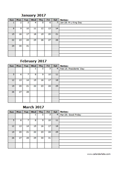 2017 Three Month Calendar Template 12L   Free Printable