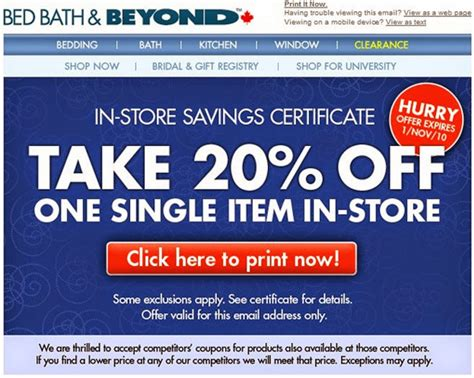 bed bath beyond discount free printable coupons bed bath and beyond coupons