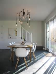modern dining area with edison bulb chandelier modern