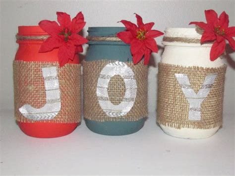 joy christmas decorated mason jars