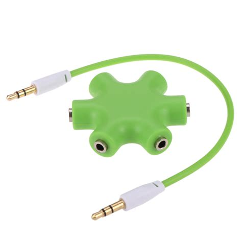 6 Way Ports To 5 Audio Earphone 3 5mm Splitter Adap 3 5mm 6 ports multi headphone headset earphone splitter adapter 1 to 5 way stereo audio hub with