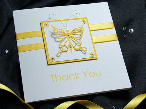Thank You Handmade Cards - flutter handmade thank you card