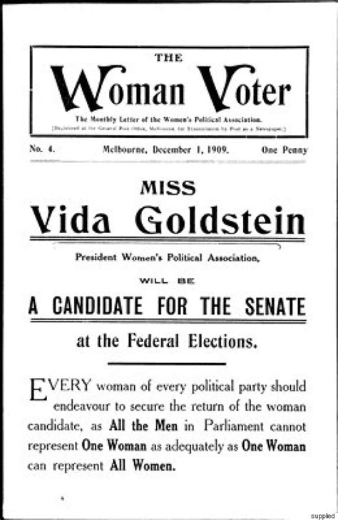 is it right for a woman at the age of 58 vida goldstein the woman who won the right to vote in