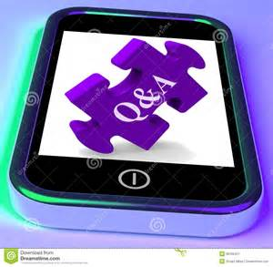 q a puzzle on mobile phone shows questions royalty free