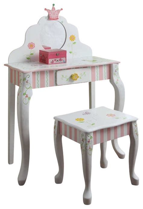 kids bedroom vanity teamson design princess and frog girls vanity table and