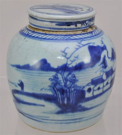 white ginger jar canton chinese export porcelain blue and white ginger jar