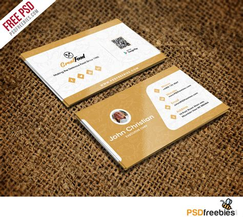 Food Business Cards Templates Free by Restaurant Chef Business Card Template Free Psd