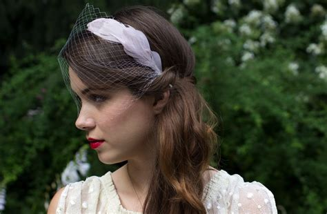 headband with hair attached pastel purple feather headband with attached veil onewed com