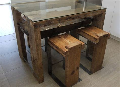 reclaimed barn wood and glass kitchen table handmade