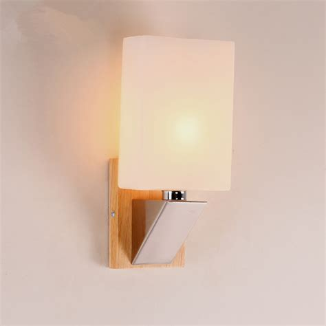 Glass Bedroom Wall Lights Modern Wood Wall L Bedroom Bedside Wooden Glass Wall