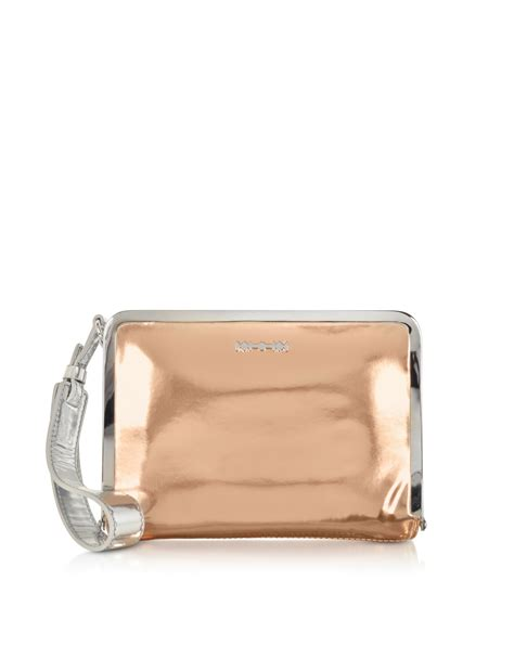 Ficcare Metallic Leather Bags by Lyst Mcq Aira Gold And Silver Metallic Eco Leather