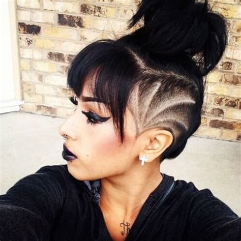 Messy Bun Without Shaved Side Showing | 50 medium haircuts with bangs to bring movement and