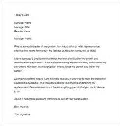 Two Weeks Resignation Letter Retail Two Weeks Notice Letter 10 Free Sle Exle Format Free Premium Templates