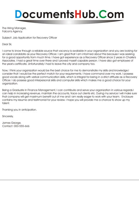 Biosafety Officer Cover Letter by Loan Recovery Officer Cover Letter Cover Letter