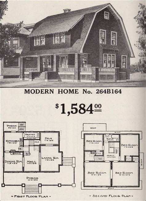 gambrel roof house floor plans dutch colonial revival sears modern home no 264b164