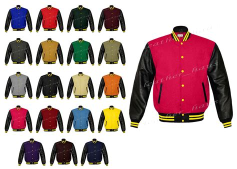 Varsity Letter College Application Faux Leather Sleeve Letterman College Varsity Lever Baseball Bomber Wool Jackets