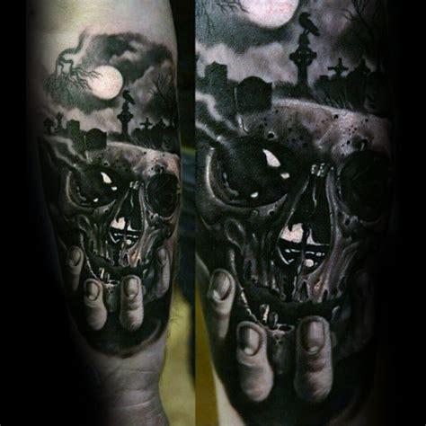 skull graveyard tattoo designs 75 inner forearm tattoos for masculine design ideas