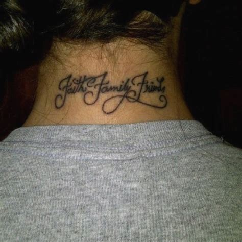 family friends tattoo neck faith family friends