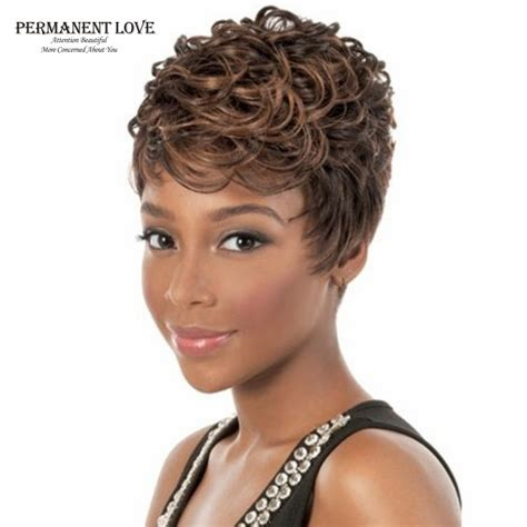 short african american hair with highlight fluffy black women wigs short pixie brown blonde