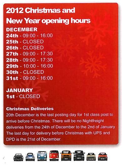 christmas   year opening hours vw heritage blog