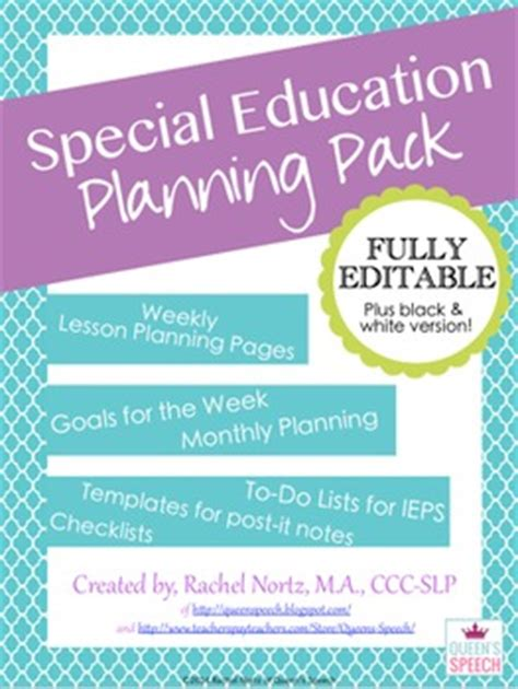special education templates special education planning pack fully editable year