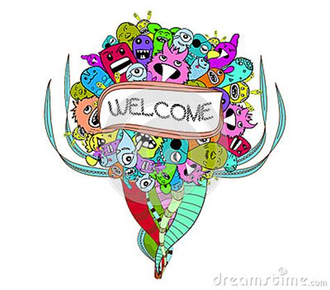 doodle welcome doodle and welcome stock illustration image