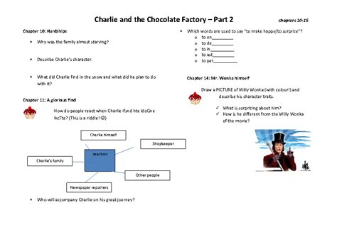 Book Club Worksheets by And The Chocolate Factory Book Club Worksheet 2