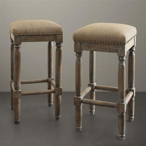 Renate Coffee Counter Stools by Renate Linen Whitewash Bar Stools