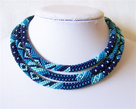 beaded crochet rope necklace beadwork seed by