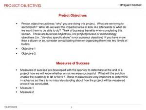 Project Objective Statement Example Project Charter Sample