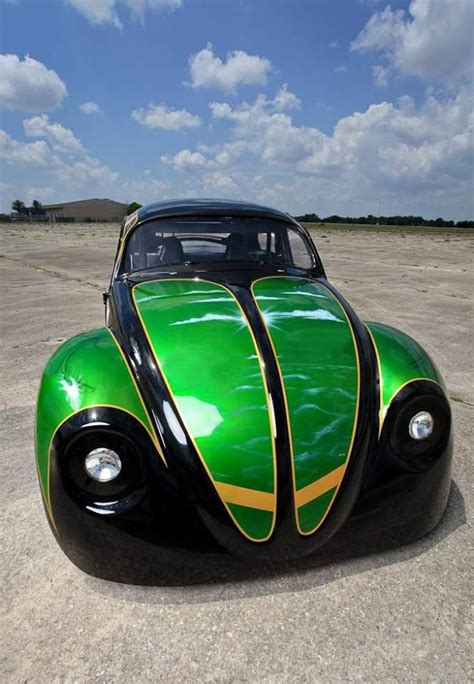 dark green volkswagen green and black modified front end beetle das modified