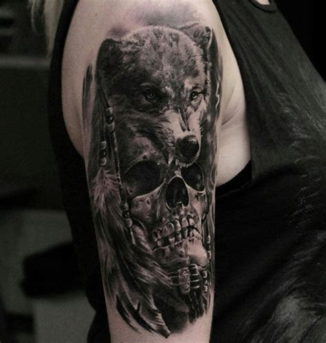 3d wolf tattoo 40 awesome skull designs